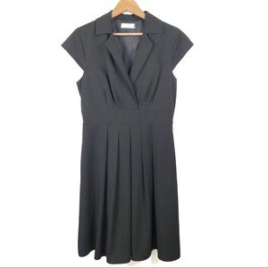 Calvin Klein Black Cap Sleeve Pleated Dress 8